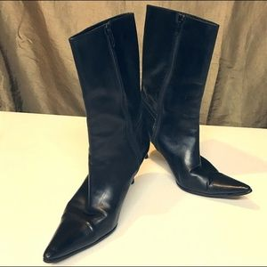 Cole Haan City Sz 8 black leather mid calf boots
